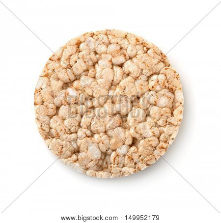 Top view of puffed whole grain crispbread isolated on white