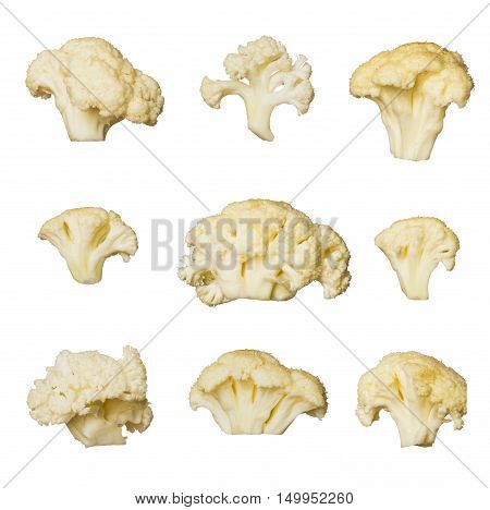 Fresh cauliflower cabbage isolated on white background. Set of different foreshortening. Collage of cauliflower cabbage