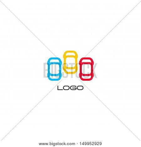 Set of isolated colorful vector devices. Simple mobile contour. Cars silhouette. Parking area sign. Road element. Mechanic service. Vehicles emblem. Car insurance logo.Cars vector illustration.