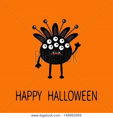 Happy Halloween greeting card. Black silhouette monster with ears fang tooth. Funny Cute cartoon character. Baby collection. Flat design. Orange background. Vector illustration