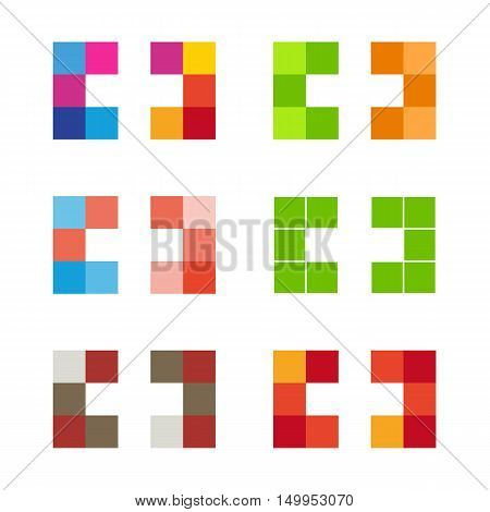 Colorful isolated mosaic cross logo set. Tile element collection. Religious sign. Medical symbol. Hospital ambulance emblem. Doctor s office. Health care icon. Vector cross illustration