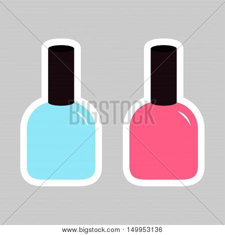 Pink blue nail polish varnish sticker icon set Gray background Isolated Fashion Template Flat design. Vector illustration