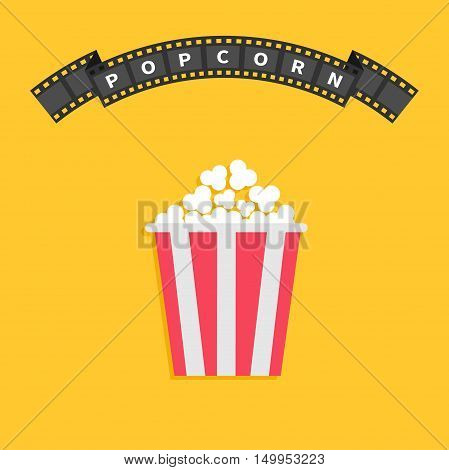 Popcorn. Big film strip round wave ribbon line with text. Red white box. Cinema movie night icon in flat design style. Yellow background. Vector illustration