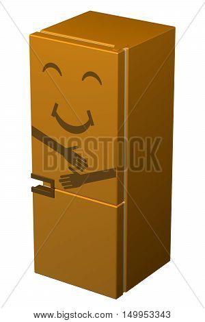 Orange smiling refrigerator isolated on white background. 3D rendering.