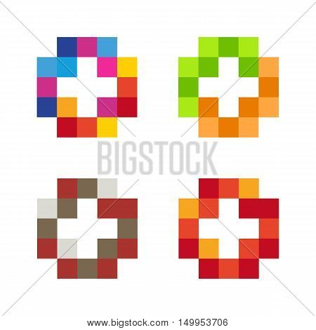 Colorful isolated mosaic cross logo set. Tile element collection. Religious sign. Medical symbol. Hospital ambulance emblem. Doctor's office. Health care icon. Vector cross illustration