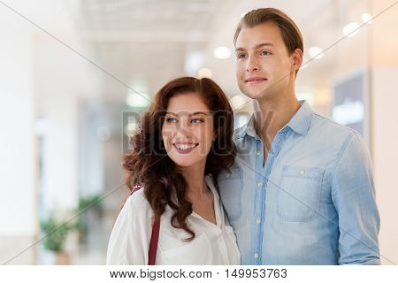 Young couple shopping and having fun together