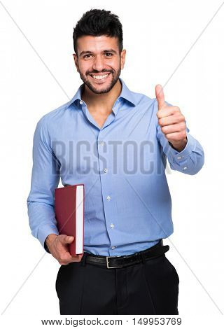 Isolated student thumbs up