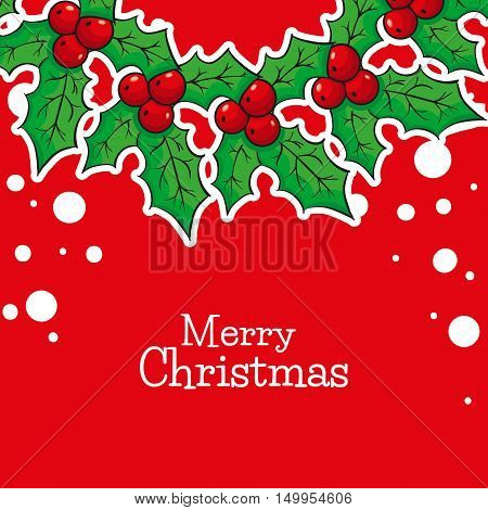 Greeting card with Poinsettia, Merry Christmas in front of red background