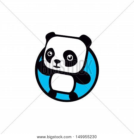 Fun, children, isolated, geek, cute, personalized panda waving paw.Round shape, cartoon, contour stylized logotype.Blue logo template.Asian bear, kids toy, element logo. Panda vector illustration