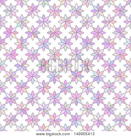 multicolored flowers 1 /Seamless vector pattern of multicolored flowers isolated on white background.