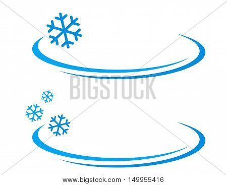winter background with blue snowflakes icon on white