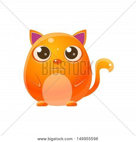 Cat Baby Animal In Girly Sweet Style. Bright Color Vector Icon Isolated On White Background. Cute Childish Animal Character Design.