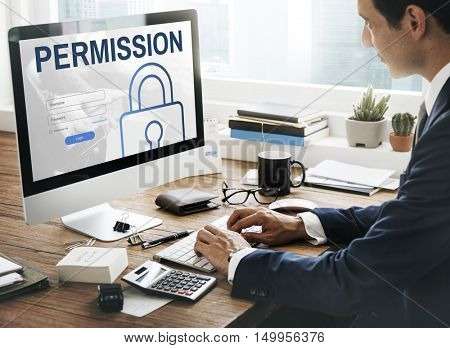 Permission Log In User Password Register Concept