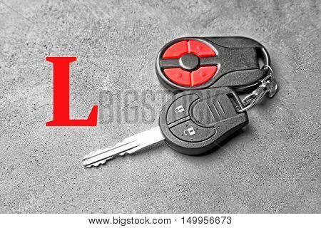 Learner driver. Car key on table