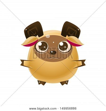 Ram Baby Animal In Girly Sweet Style. Bright Color Vector Icon Isolated On White Background. Cute Childish Animal Character Design.