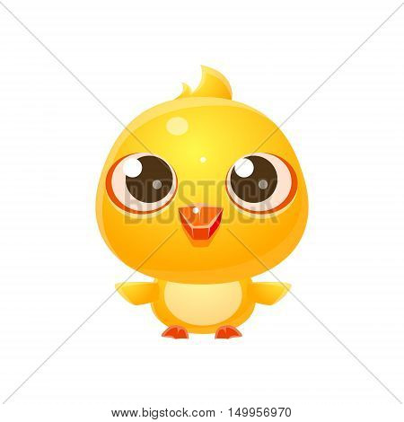 Chicken Baby Animal In Girly Sweet Style. Bright Color Vector Icon Isolated On White Background. Cute Childish Animal Character Design.