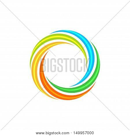 Isolated abstract colorful circular sun logo. Round shape rainbow logotype. Swirl, tornado and hurricane icon. Spining hypnotic spiral sign. Photo lens symbol. Vector round illustration