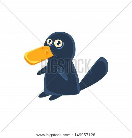 Duckbill Toy Exotic Animal Drawing.Silly Childish Illustration Isolated On White Background. Funny Animal Colorful Vector Sticker.
