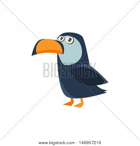 Toucan Toy Exotic Animal Drawing. Silly Childish Illustration Isolated On White Background. Funny Animal Colorful Vector Sticker.