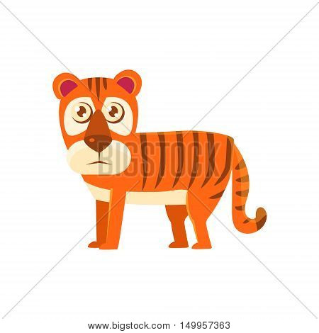 Tiger Toy Exotic Animal Drawing. Silly Childish Illustration Isolated On White Background. Funny Animal Colorful Vector Sticker.