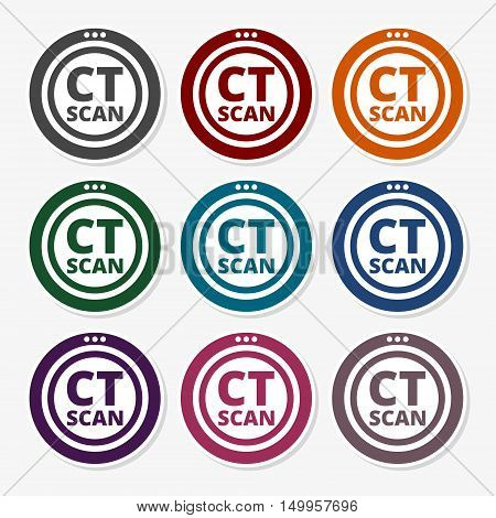CT Scan sign icon logo set on gray background