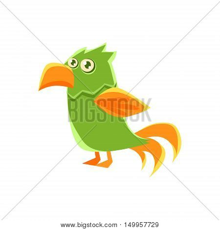 Green Parrot Toy Exotic Animal Drawing. Silly Childish Illustration Isolated On White Background. Funny Animal Colorful Vector Sticker.
