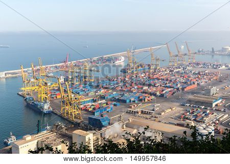 Industrial Port for freight transport and global business in Becelona Spain