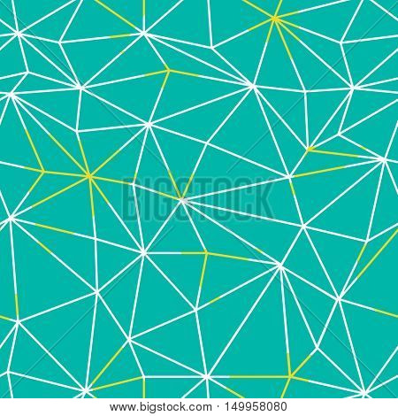 Low poly seamless repeat pattern. Triangular facets. Vector pattern. Wireframe Background Green and Yellow Seamless Pattern.