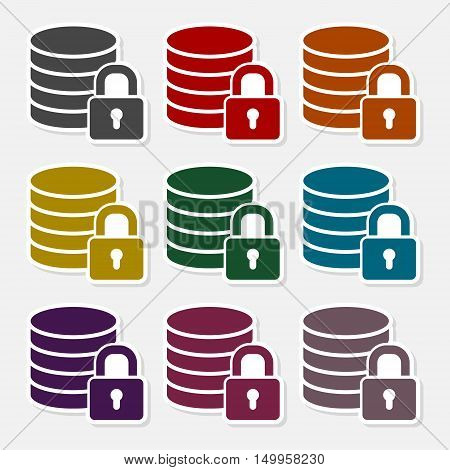 Database security concept  icon set on gray background