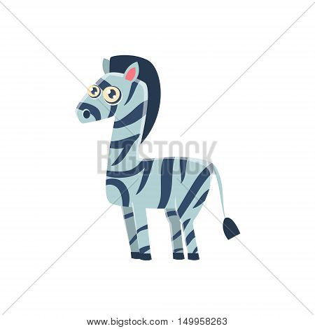 Zebra Toy Exotic Animal Drawing. Silly Childish Illustration Isolated On White Background. Funny Animal Colorful Vector Sticker.