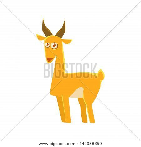 Gazelle Toy Exotic Animal Drawing. Silly Childish Illustration Isolated On White Background. Funny Animal Colorful Vector Sticker.