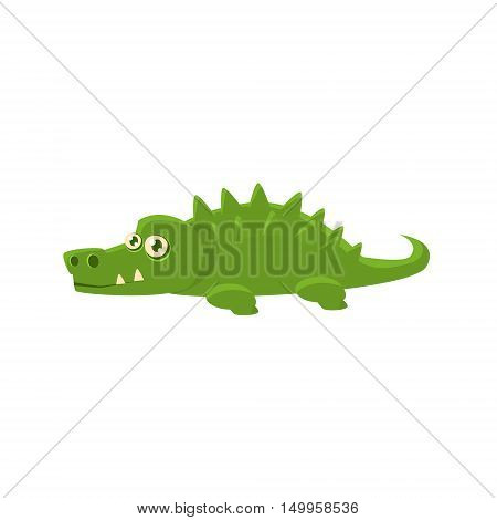 Crocodile Toy Exotic Animal Drawing. Silly Childish Illustration Isolated On White Background. Funny Animal Colorful Vector Sticker.