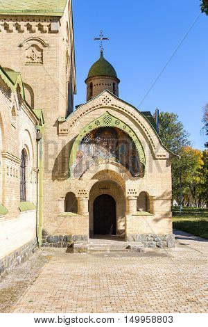 the entrance to the Orthodox church. above the entrance to the image of Jesus Christ. input of an arch. Dome with a cross.