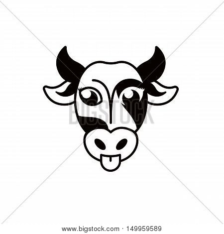 Isolated abstract blck and white cow muzzle logo.