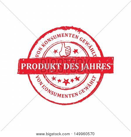 The best Product of the Year (German language: Produkt des Jahres) - grunge stamp / label, for print. Grunge layer is applied exactly on the colored stamp