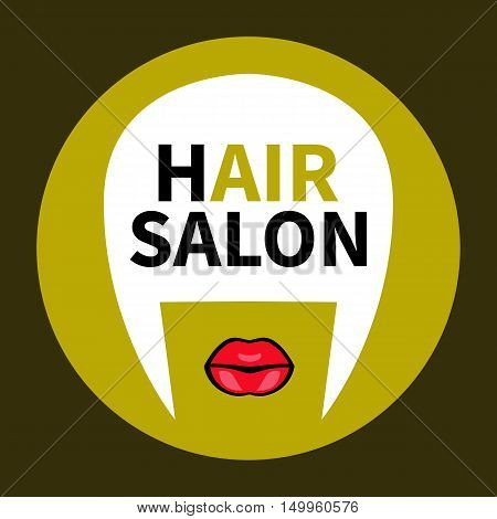 Logo for hair shop. Stylish trendy vector golden badge sticker tags flat icon stylist cosmetologist hairdresser isolated.