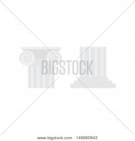 Vector illustration white antique ionic column capitals isolated on white background. Classic column in Greek or Roman Ancient style.