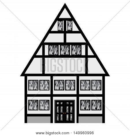 Vector illustration medieval house. Fachwerk house traditional cottage