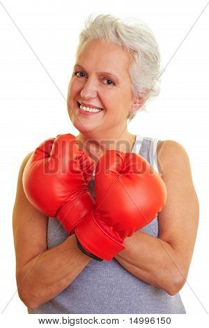 Senior Showing Off Her Red Boxing Gloves