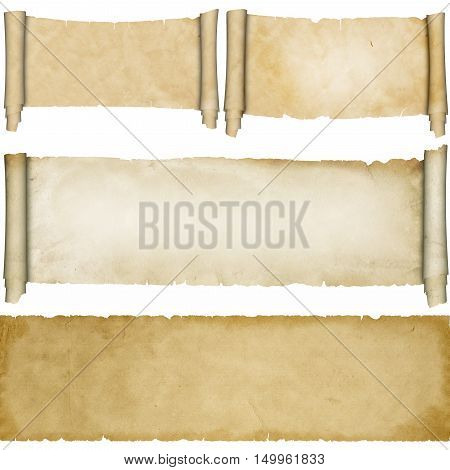 Antique scroll of parchment and old paper texture on white background. Parchment scrolls collection.