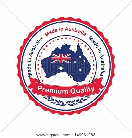 Premium Quality, Made in Australia- stamp / sticker with the Australian map and flag. Print colors used