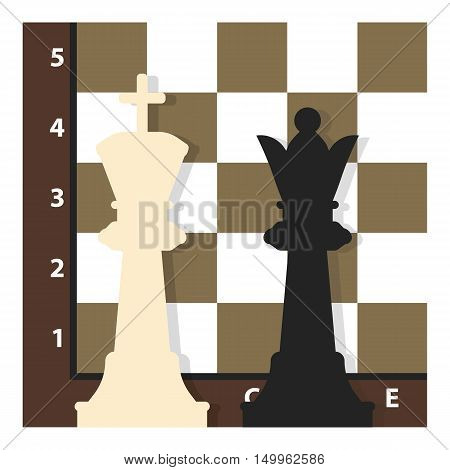Chess icon in cartoon style isolated on white background. Board games symbol vector illustration.