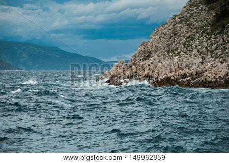 Rough Adriatic Sea In Brestova, Istra, Croatia