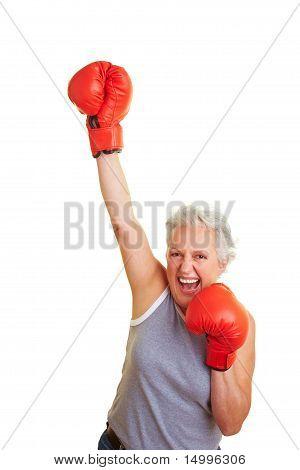 Senior Woman Winning Box Match