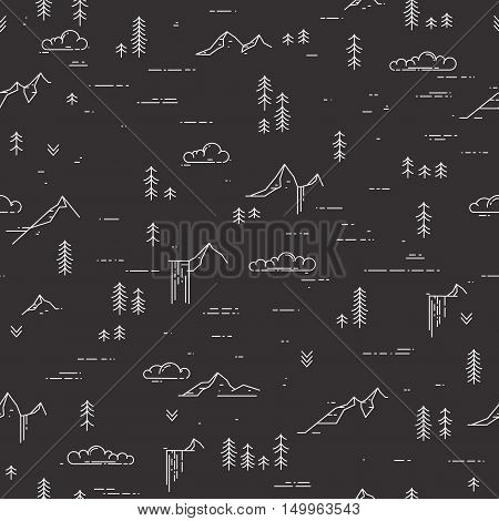 Vector linear seamless pattern with wild landscape elements. Waterfall, mountains, pine trees and clouds. Nature illustration on blackboard