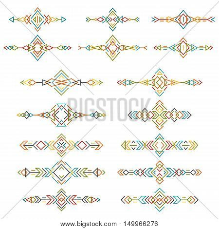 Colorful ethnic borders set isolated on white background. Collection of boho tribal elements. Line style art. Vector illustration