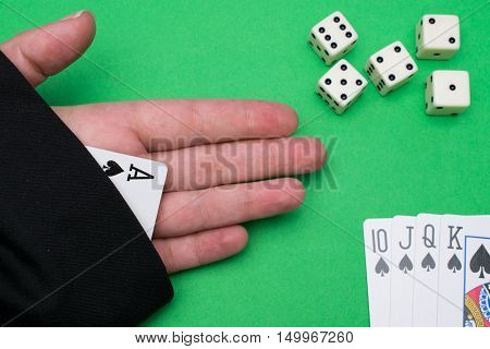 Ace in the hole while gambling with playing cards a dice