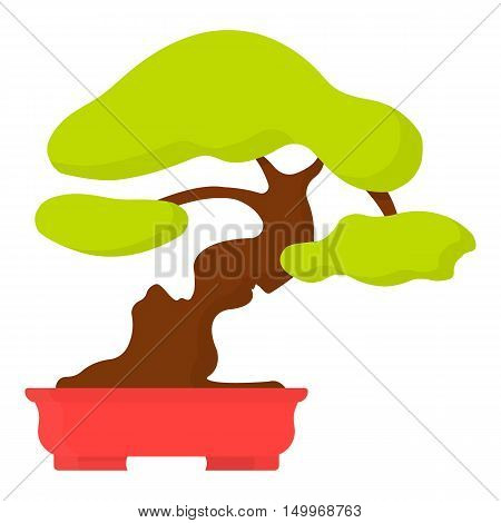 Bonsai icon in cartoon style isolated on white background. Japan symbol vector illustration.