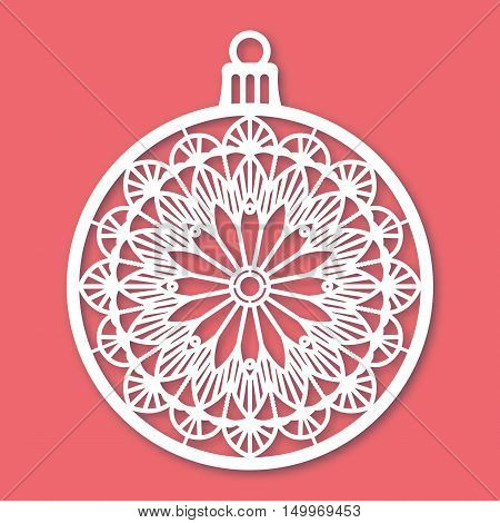 Christmas ball with snowflake. Laser Cutting template for greeting cards envelopes invitations interior elements. Vector xmas paper cutting ornamental panel. Die cut card.