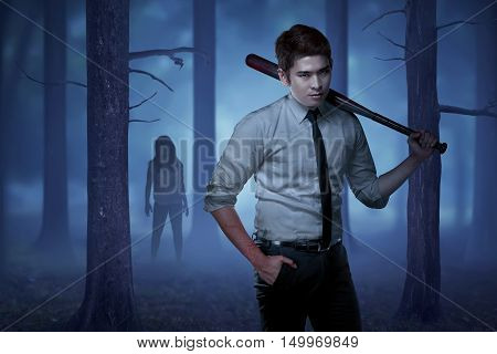 Front View Of Formal Wear Man With Stick Bat On Shoulder Not Sense Woman Zombie